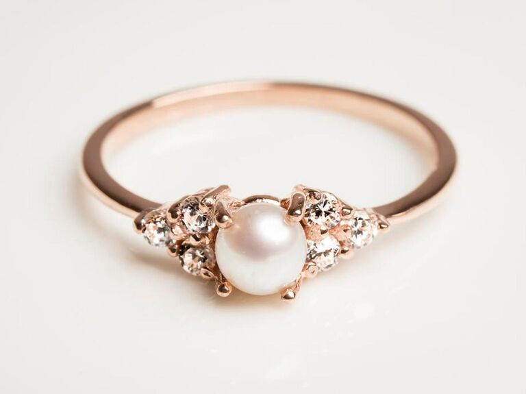 AlyaPersonalized pearl engagement ring in 14K rose gold