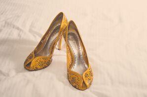 The Brides Mustard Yellow BCBG Cutout Heels