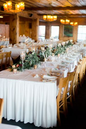 Rustic Reception with White Tablecloths and Greenery Runners