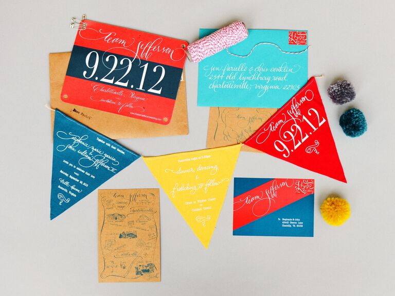 Vibrant pendant-themed invitation suite in blue, yellow and red.