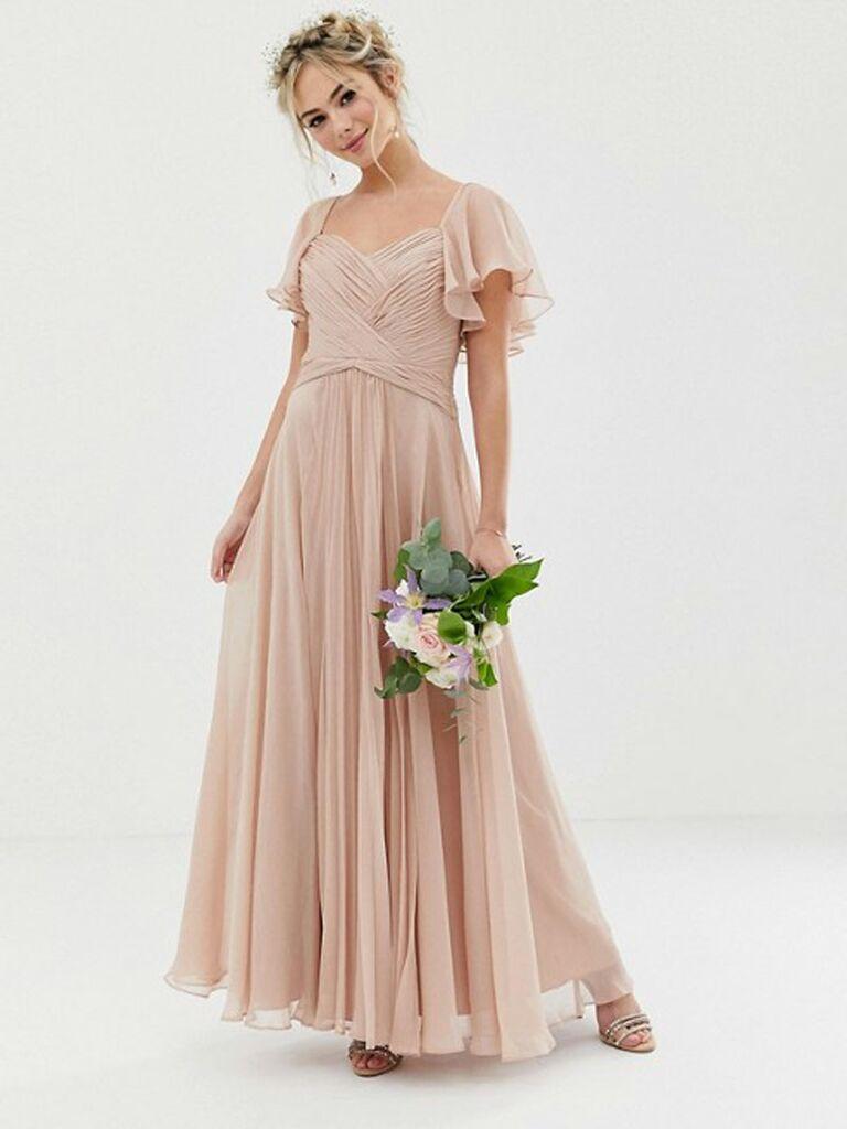 Blush ASOS flutter sleeve spring bridesmaid dress