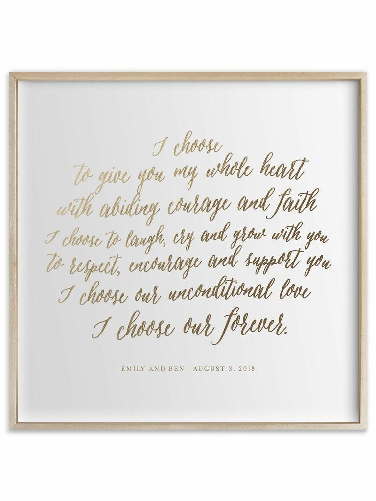 wedding vow print romantic anniversary gift for wife