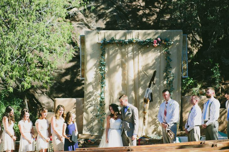 Anna and Chris got married in the park ranger amphitheater in Big Bend National Park in Texas. They chose this spot because it didn't require hiking to reach and could accommodate their 75 guests. Bonus: It offered some shade from the sun in the extremely hot weather.
