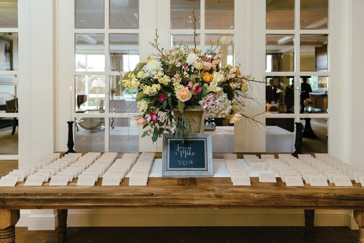 Lush Escort Card Display with Chalkboard Sign