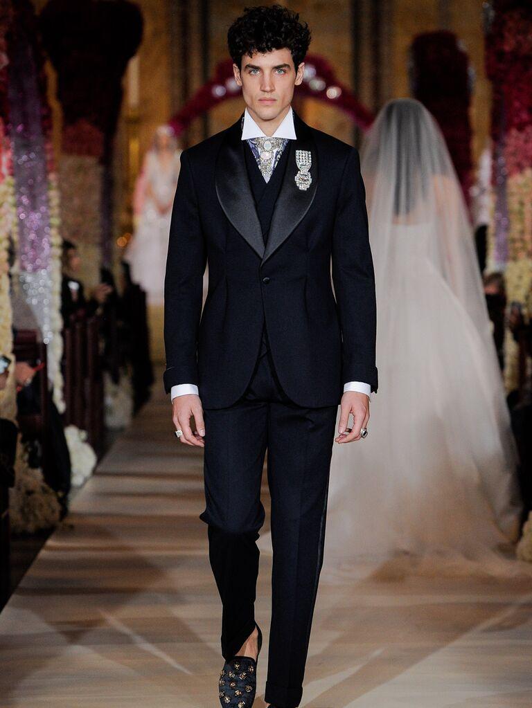 Joseph Abboud black menswear groom look