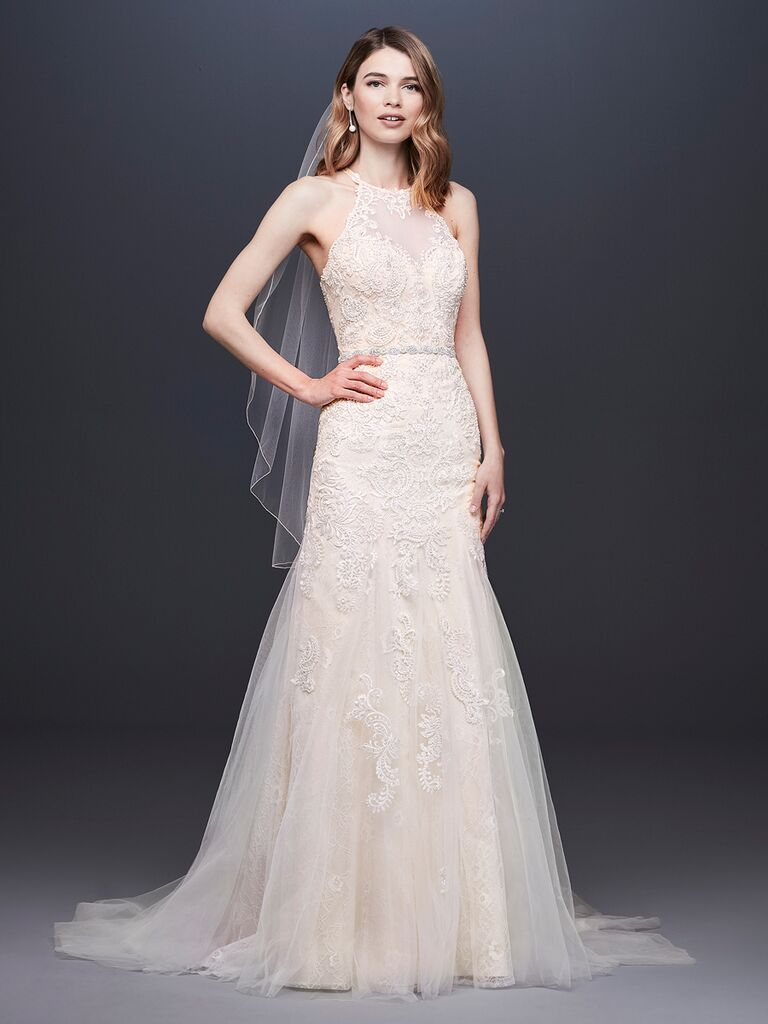 2395c1d264575 David's Bridal Spring 2019 lace embroidered wedding dress with a halter  neckline