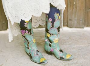 Rustic, Eclectic Painted Boots with Colorful Cactus Design