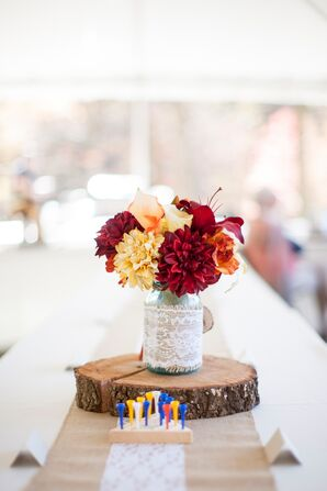 Silk Red Chrysanthemum Centerpiece