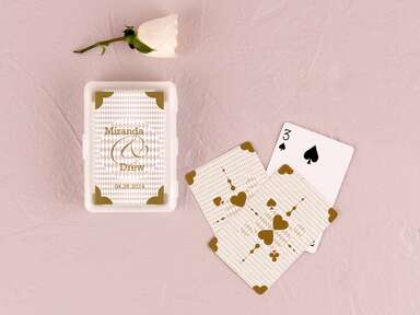Gold playing cards wedding favor from The Knot Shop
