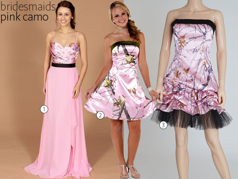 3 Pink Camo Bridesmaid Dresses