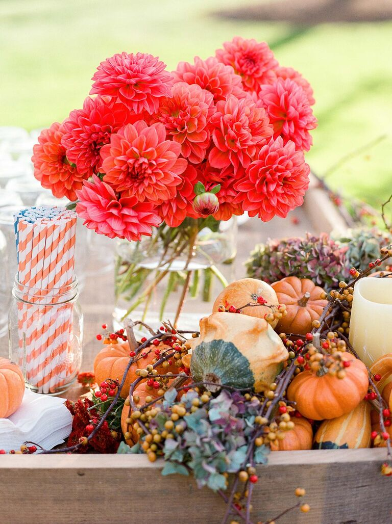 Mini pumpkin and gourd wedding decorations