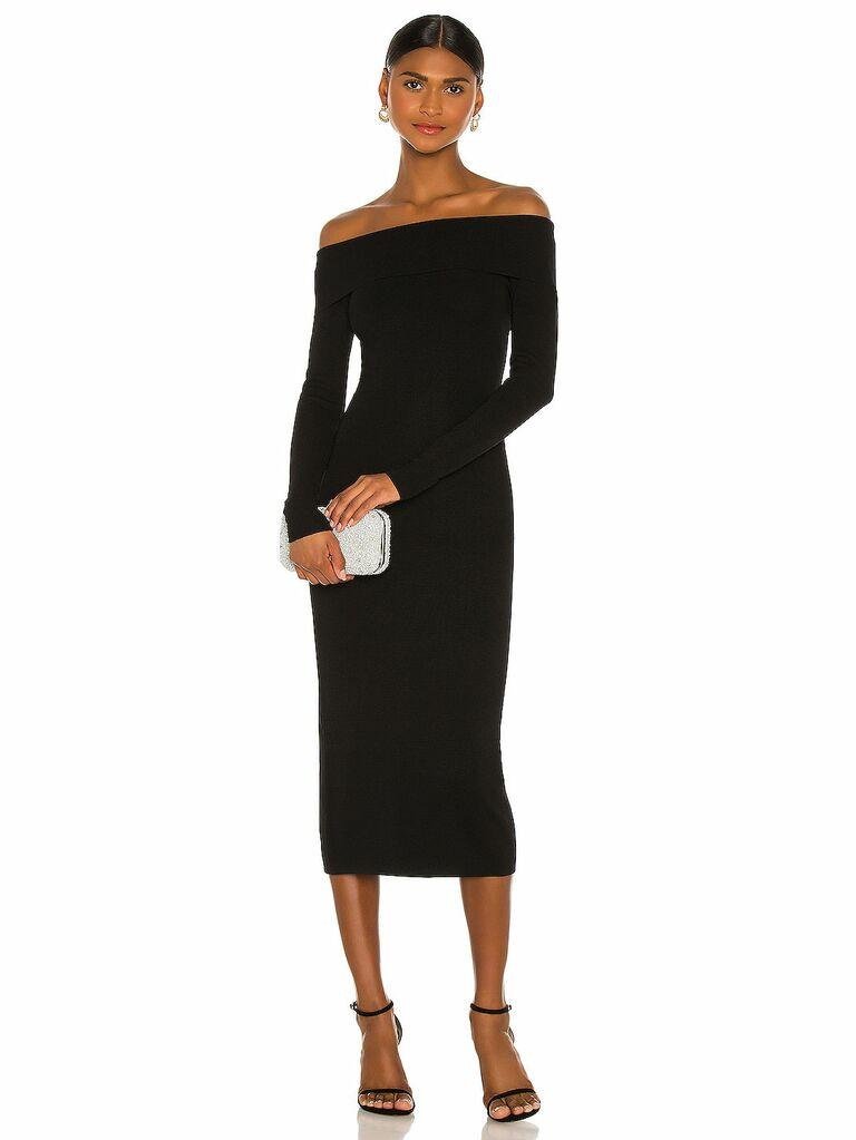 Black off-the-shoulder knit midi dress