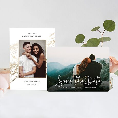 Customizable, artisan-designed save-the-dates featuring your engagement photos.