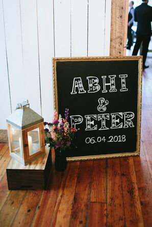 Chalkboard Sign and Rustic Lantern