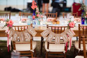 Burlap Bride and Groom Sweetheart Chair Pennants