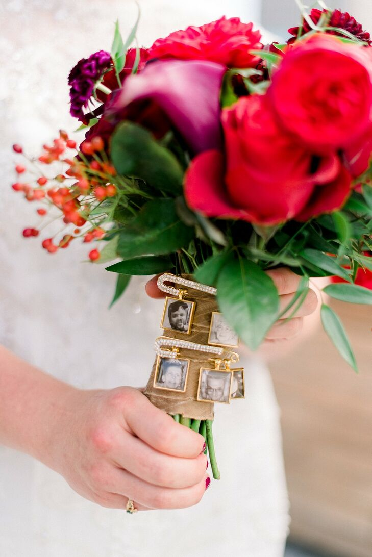 Colorful Bouquet with Gold Wrap and Picture Charms