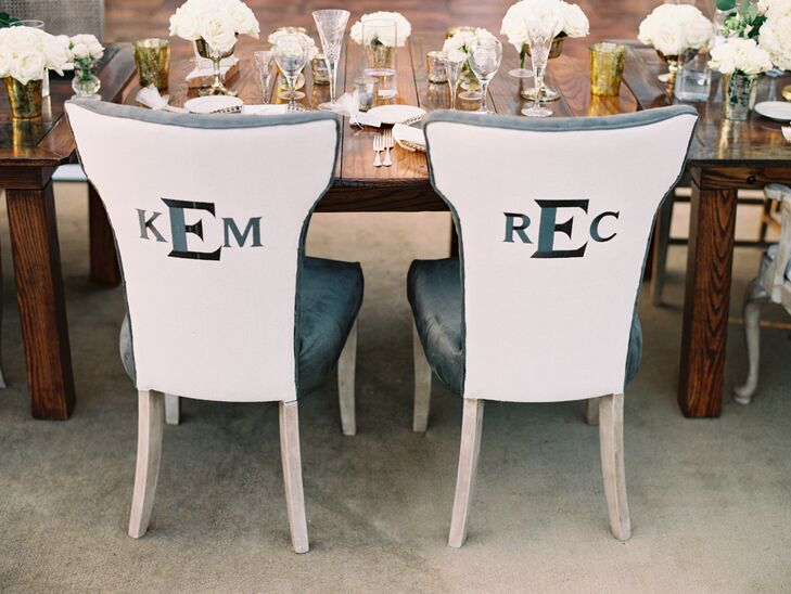 Personalized Sweetheart Chairs with Preppy Monogram Embroidery