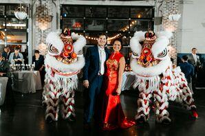 Lion Dancers at Wedding at Cherry Hall in Kansas City, Missouri