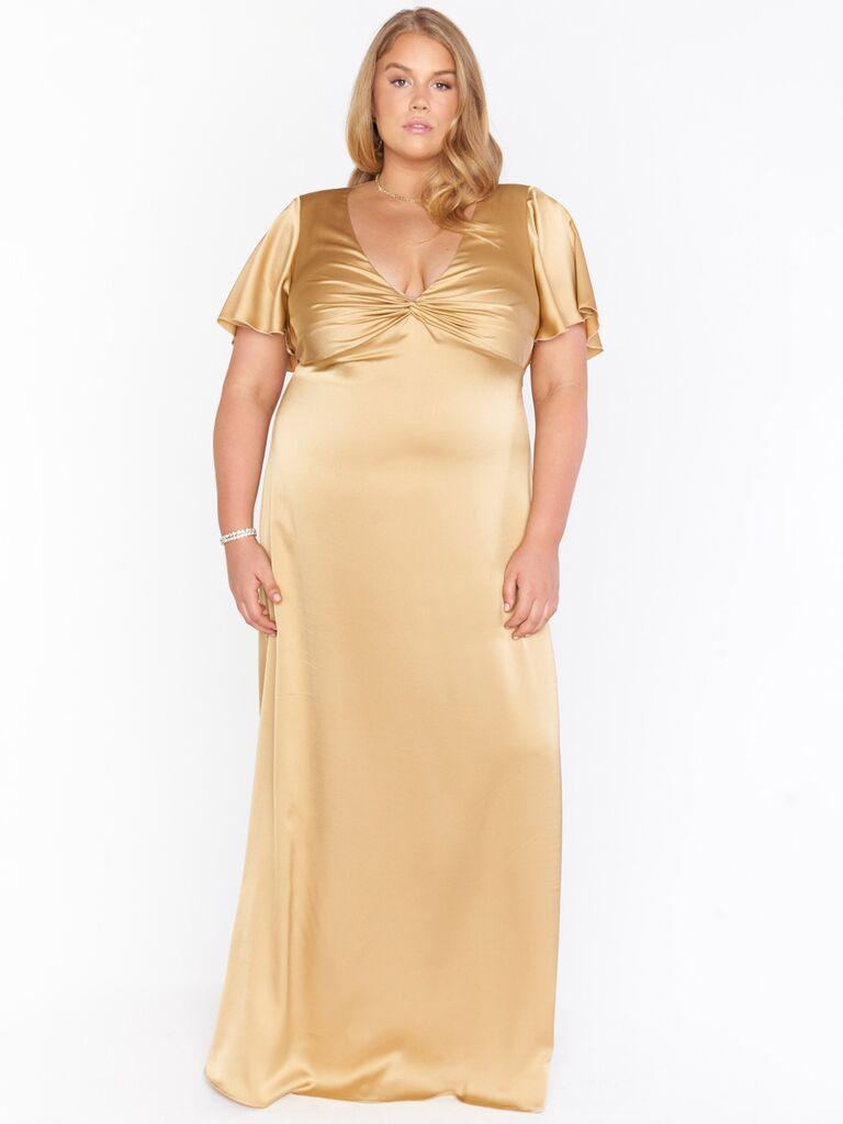 show me your mumu gold winter bridesmaid dress