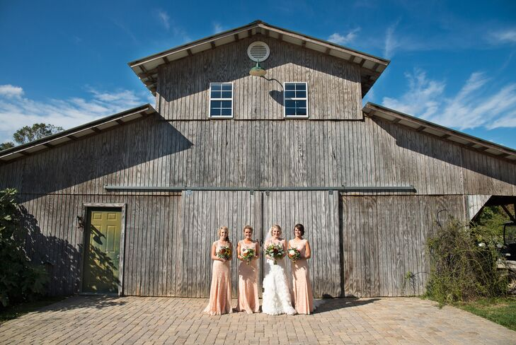 """The couple chose a rural flower farm for its picturesque ponds, horses and trees. """"Since the scenery was already decorated with Mother Nature's own beautiful colors, we didn't have to add too much,"""" says Lauren."""