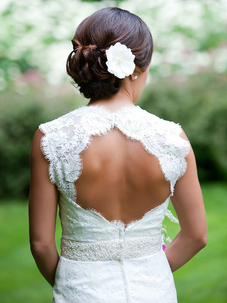 Low bun wedding hairstyles with pin curls