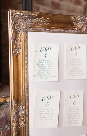 Vintage Gold-Framed Seating Chart