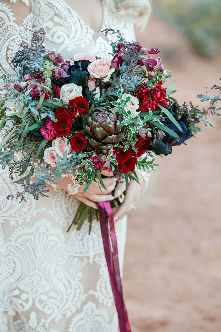 Glamorous Bouquet with Dark Flowers and an Artichoke
