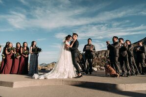 Modern Desert Ceremony with Bride, Groom and Wedding Party