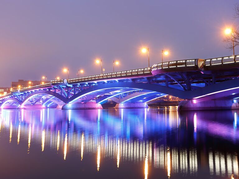 Worcester Massachusetts bridge lights