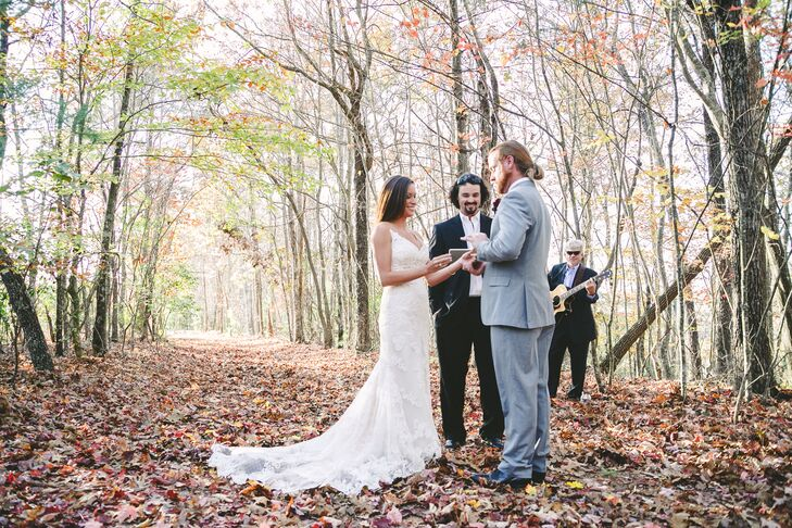 Amy and Matt were married by a friend and exchanged personal vows during their woodland ceremony.rnrn