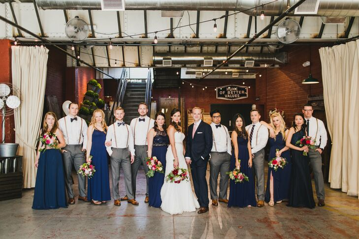 Casual Mismatched Bridesmaid and Groomsmen Attire