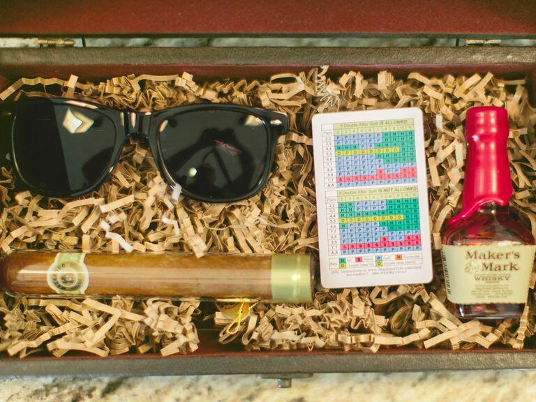 Sunglasses, cigar, mini bottle in gift box