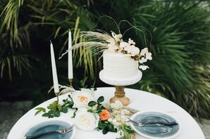 Single-Tier Round Cake with Grain and Blossoms