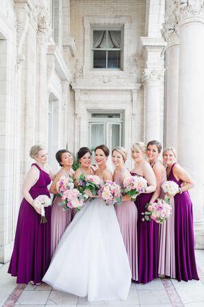 Two Birds Purple Floor-Length Bridesmaid Dresses