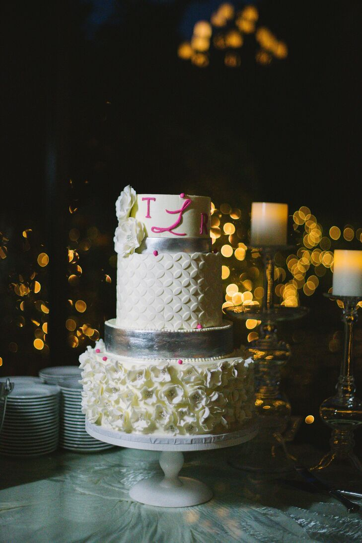 Textured Buttercream Wedding cake with Silver and Pink Accents