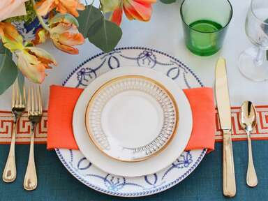 colorful table setting for wedding reception