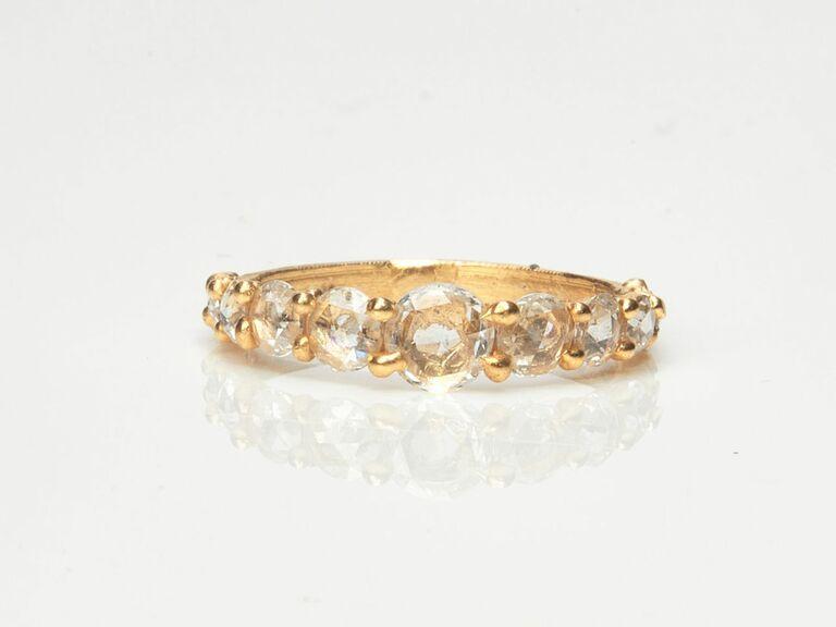 rose cut diamond band in yellow gold