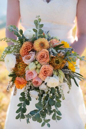 Peach Protea, Rose and Cascading Eucalyptus Bouquet