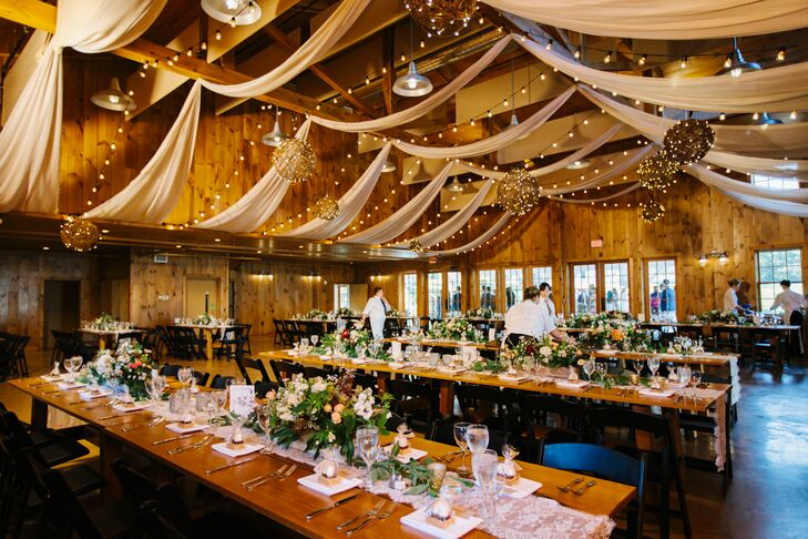 Romantic Barn Reception with Draped Ceiling