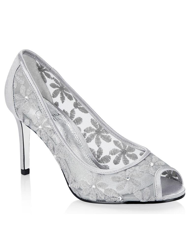 Silver floral sparkly wedding heels