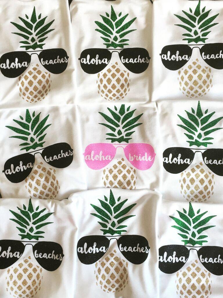 """""""Aloha Bride"""" and """"Aloha Beaches"""" bachelorette party shirts"""