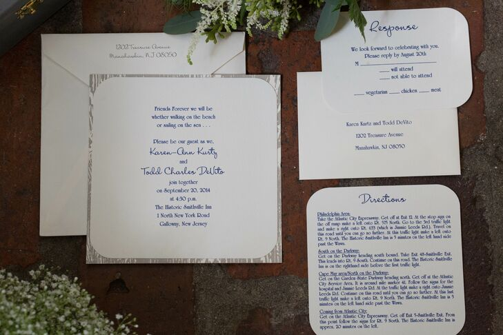 Blue and Silver Laser-Printed Invitations