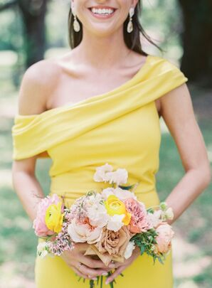 Colorful Bouquet and Yellow Bridesmaid Dress