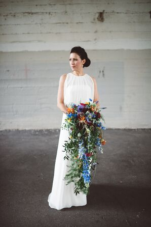 Cascading Wildflower Bouquet with Delphiniums and Thistle