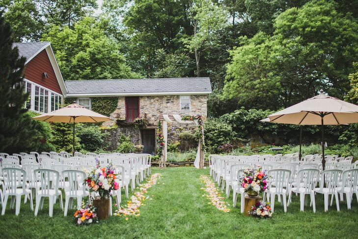Casual Backyard-Style Ceremony Setup at Crossed Keys Estate in Andover, New Jersey
