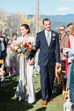 Boho Bride and Groom at Ceremony Recessional