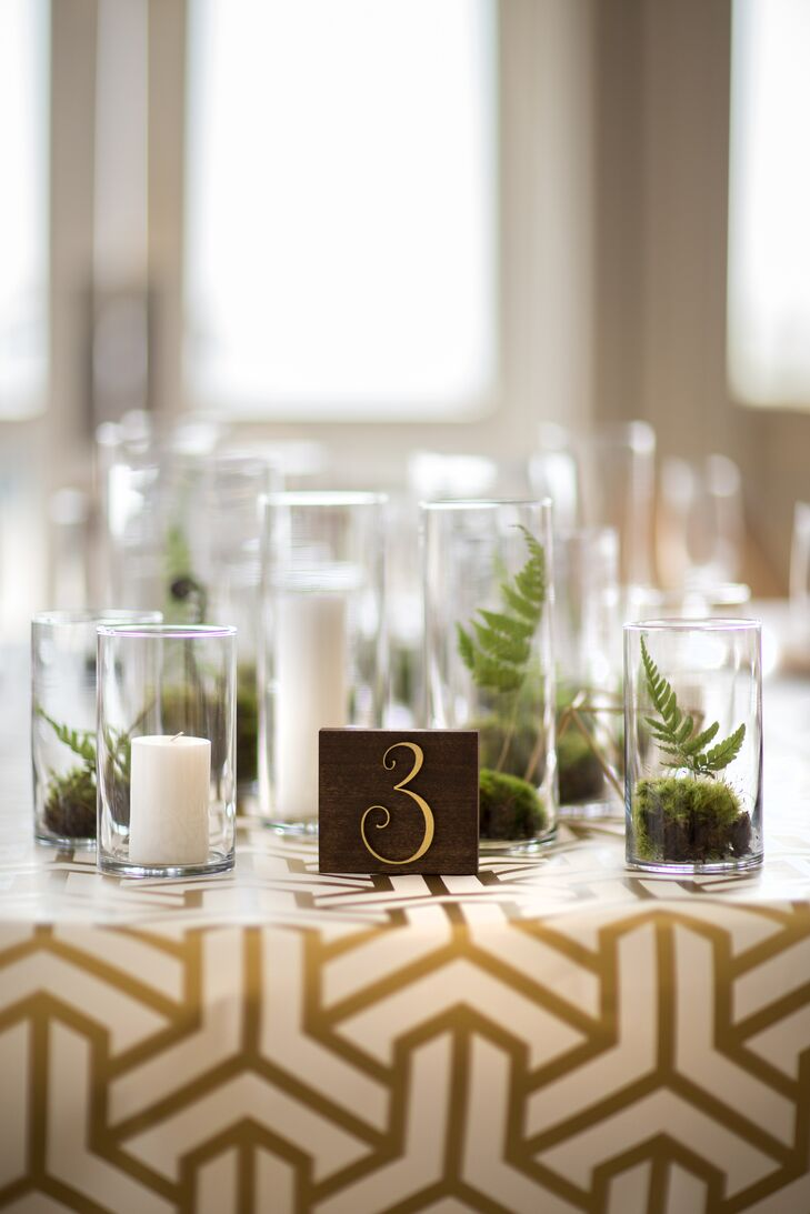 Green Fern and Moss Table Centerpieces