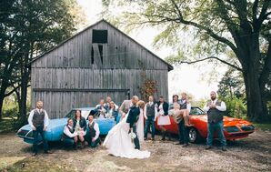 Wedding Party with Classic Cars