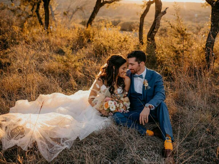 Bride and groom at outdoor country wedding