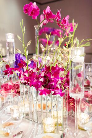 Modern Orchid and Candle Centerpieces